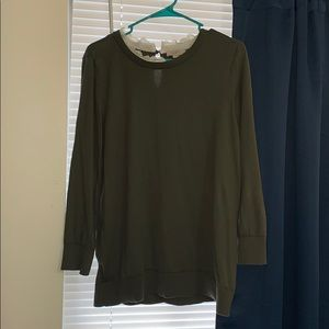 Olive Green Sweater with Lace Collar